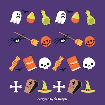 Flat halloween border collection with decorations