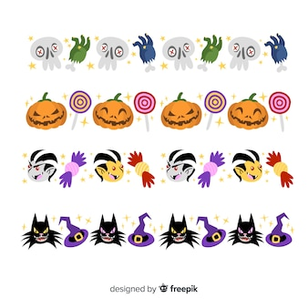 Flat halloween border collection with sweets and creature