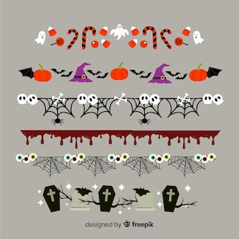 Flat halloween border collection