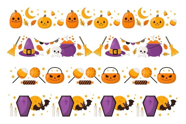Flat halloween borders collection