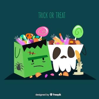 Flat halloween candy bag