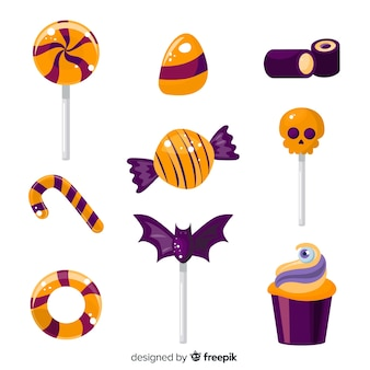 Flat halloween candy collection on white background