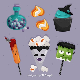 Flat halloween candy collection