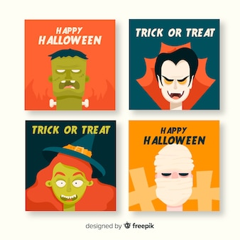 Flat halloween card character collection