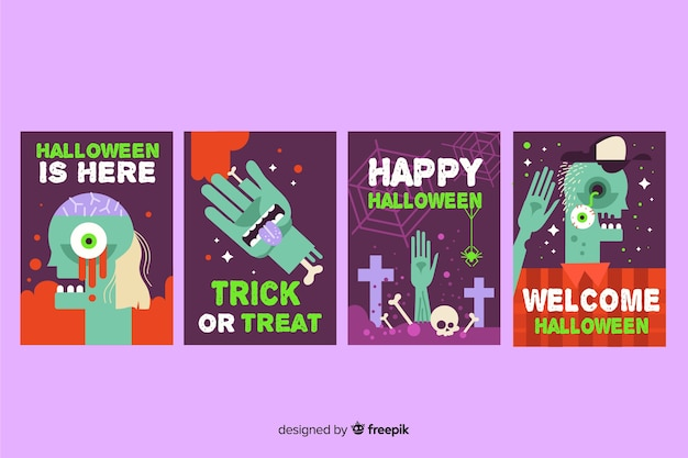 Flat halloween card collection and cemetery elements