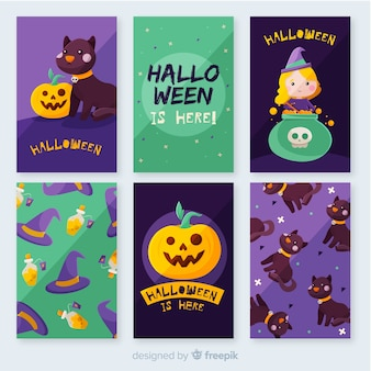 Flat halloween card collection and witchcraft