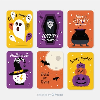 Flat halloween card collection with variety of backgrounds