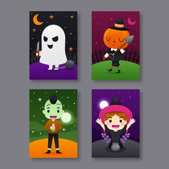 Flat halloween card collection