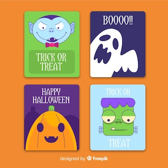Flat halloween card template collection