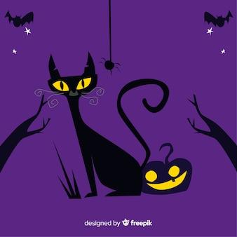 Flat halloween cat background