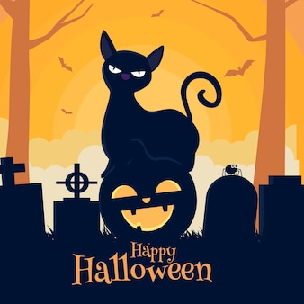 Flat halloween cat illustration