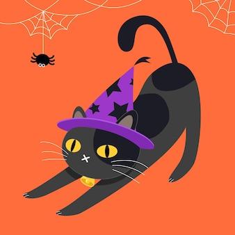 フラットハロウィン猫イラスト