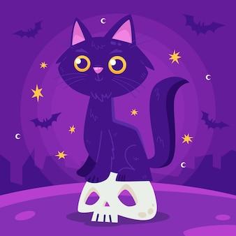 Плоская иллюстрация кошки хэллоуина
