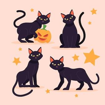 平らなハロウィーンの猫のイラスト