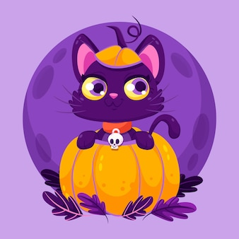 Flat halloween cat illustration