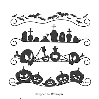 Flat halloween cemetery border collection