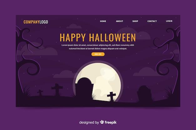 Плоская целевая страница хэллоуин кладбище