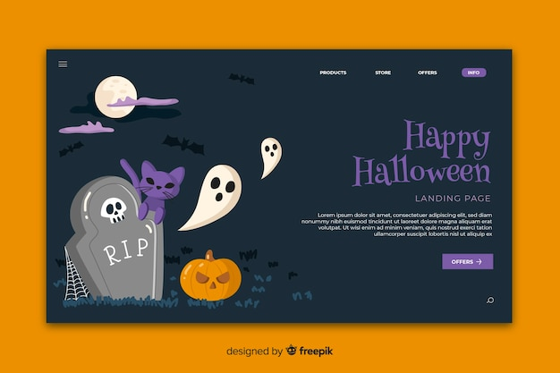 Flat halloween cemetery landing page