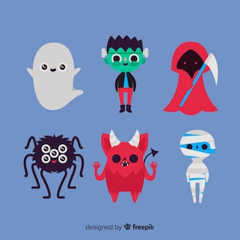 Flat halloween character collection on blue background