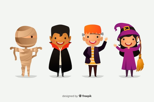 Flat halloween character collection on white background