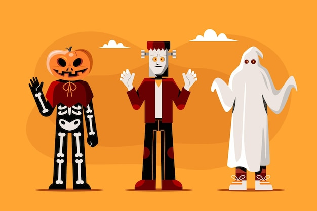 Коллекция плоских персонажей хэллоуина