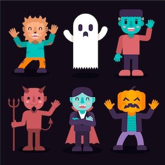 Collezione di personaggi di halloween piatto