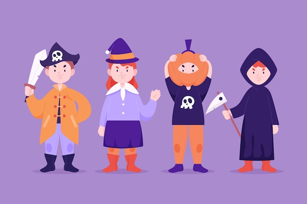 Flat halloween characters collection