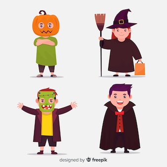 Flat halloween child costumes collection