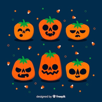 Flat halloween child pumpkin collection