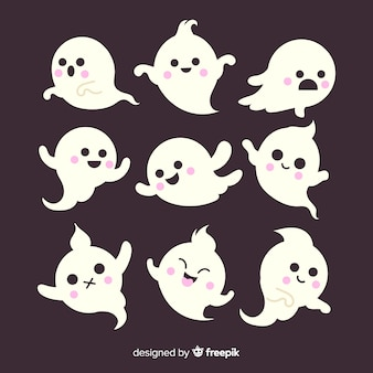 Flat halloween children ghost collection