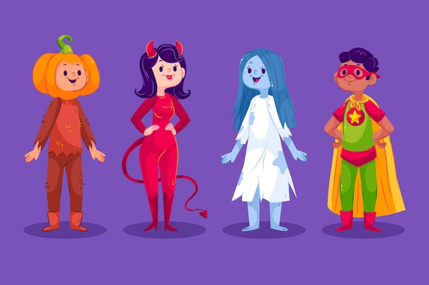 Flat halloween costumes collection