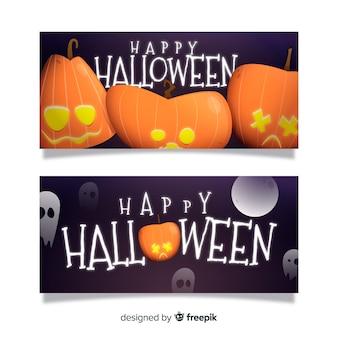 Flat halloween curved pumpkins banners