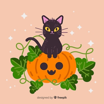 Flat halloween cute cat and pumpkin with leaves