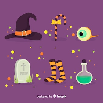 Flat halloween element collection