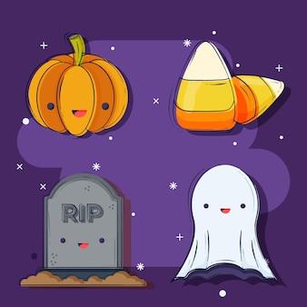 Collezione di elementi di halloween piatta
