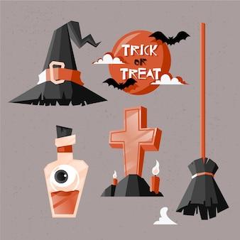 Collezione di elementi di halloween piatto