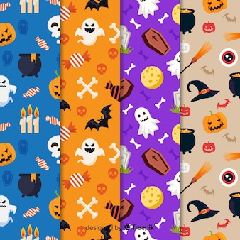 Flat halloween element pattern collection
