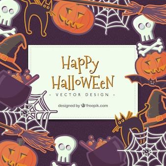 Piatto di halloween elementi di sfondo