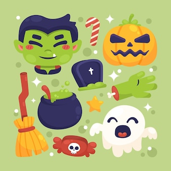 Flat halloween elements collection