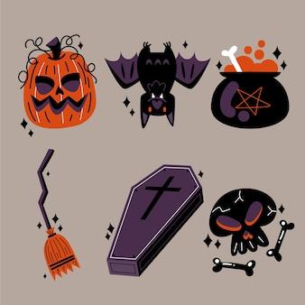Коллекция плоских элементов хэллоуина