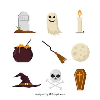 Elementi halloween piatti con stile classico