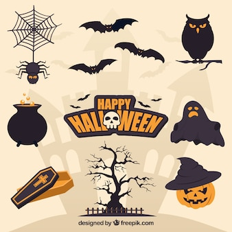 Flat halloween elements with creepy style