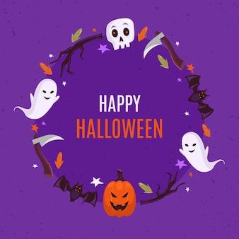 Concetto di cornice piatta di halloween