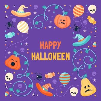 Modello di cornice piatta di halloween