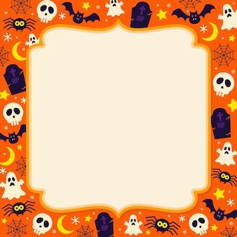 Flat halloween frame template