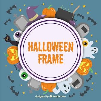 Flat halloween frame with circular design
