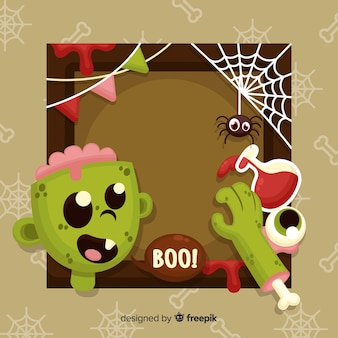 Flat halloween frame with zombie parts