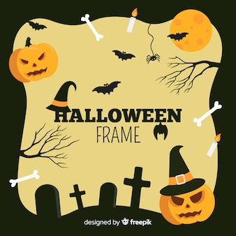 Flat halloween frame