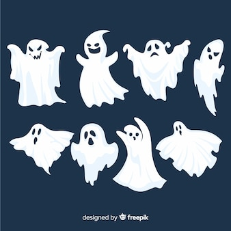 Flat halloween ghost collection on blue background