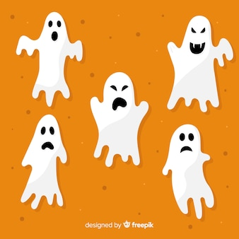 Flat halloween ghost collection on orange background